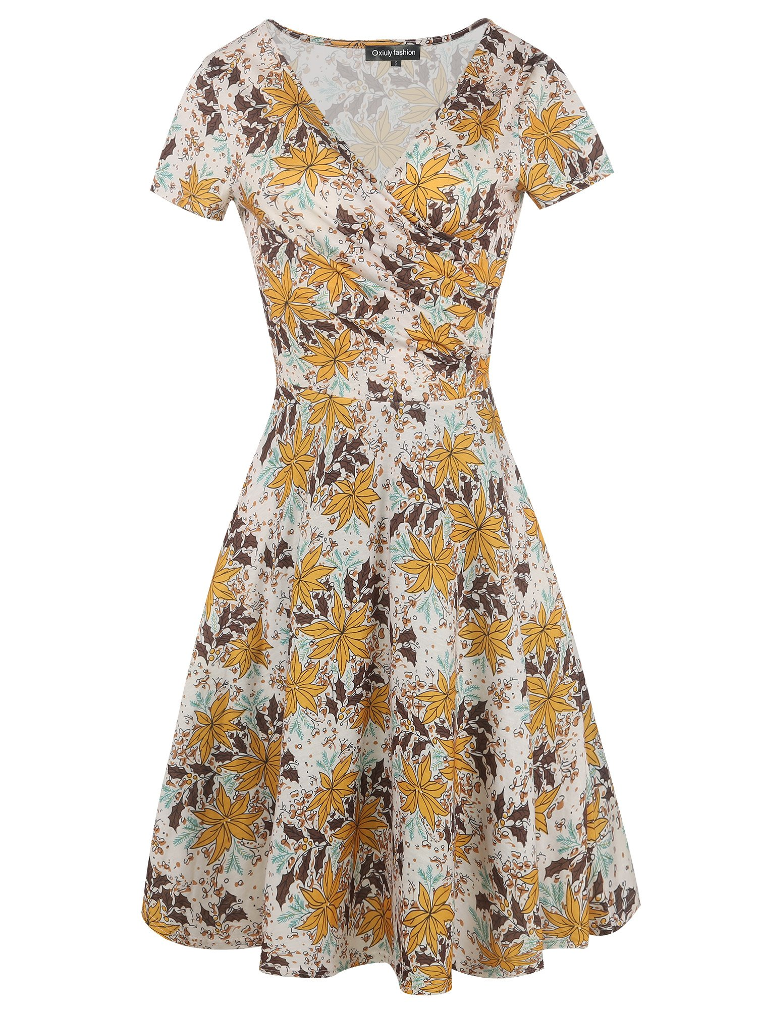 oxiuly Women's Casual Criss-Cross Necklines Short Sleeve Work Business Swing Summer Dress OX288 (Yellow White, L)