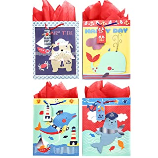 Nautical Gift Bags + Tissue Paper (4 Large Bags + Tissue Paper, Sailor Theme)