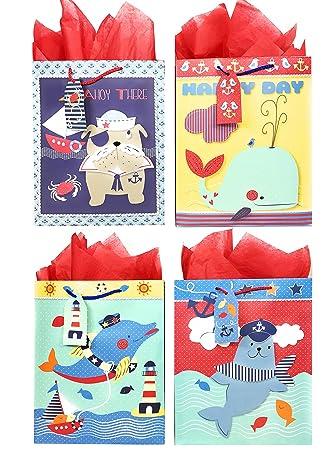 Amazon.com: Nautical bolsas de regalo + Papel de seda, 4 ...