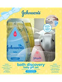 Johnson's Bath Discovery Baby Gift Set, Baby Bath Essentials For Parents-To-Be, 6 Items