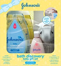 Johnson's Bath Discovery Baby Gift Set for Parents-to-Be, Bath Caddy with Baby Essentials (6 Items)