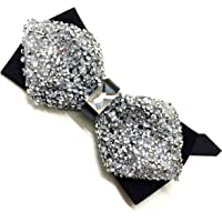 Classique Men's Fashion Sparkling Crystal Rhinestone Studied Tuxedo Bow Ties Silver
