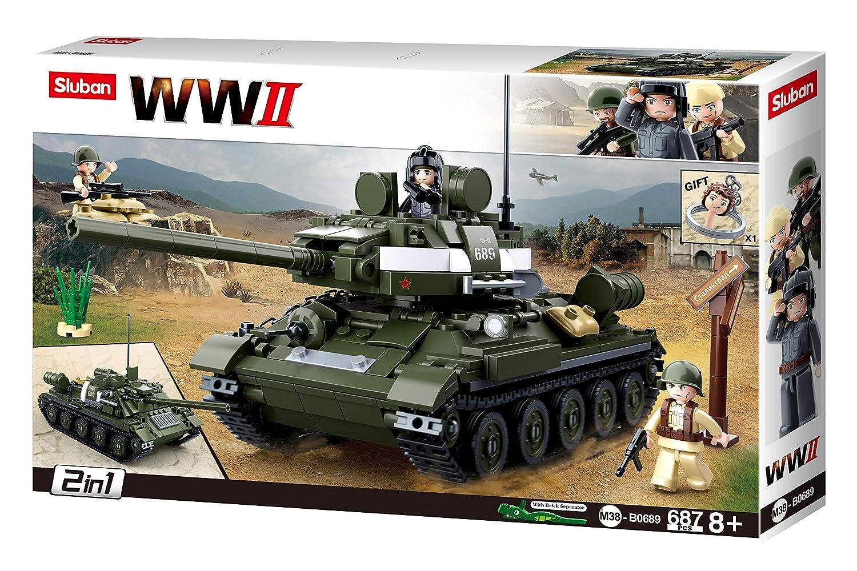 SlubanKids Army Tank Building Blocks WWII Series Building Toy 2 in 1 Tank 687 Pc Set Indoor Games for Kids SLU08644