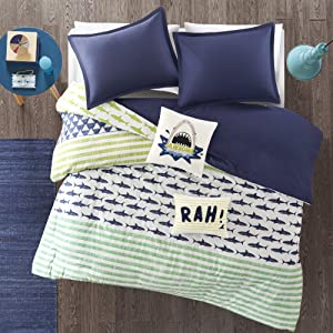 Urban Habitat Kids Finn Full/Queen Duvet Cover Set Kids Boy - Green, Navy , Shark Stripe – 5 Piece Bed Set Cover – 100% Cotton Kid Boys Bedding Set