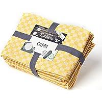 Lumaland diskhanddukar Capri-serien i tolv färger 10 stycken per set 100 % bomull 46 x 70 cm gul – vit