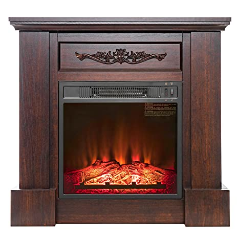 "Amazon.com: FIREBIRD 32"" Freestanding Insert Brown Wooden Push Button Control Electric Fireplace Stove Heater w/ Log Bed: Home & Kitchen"