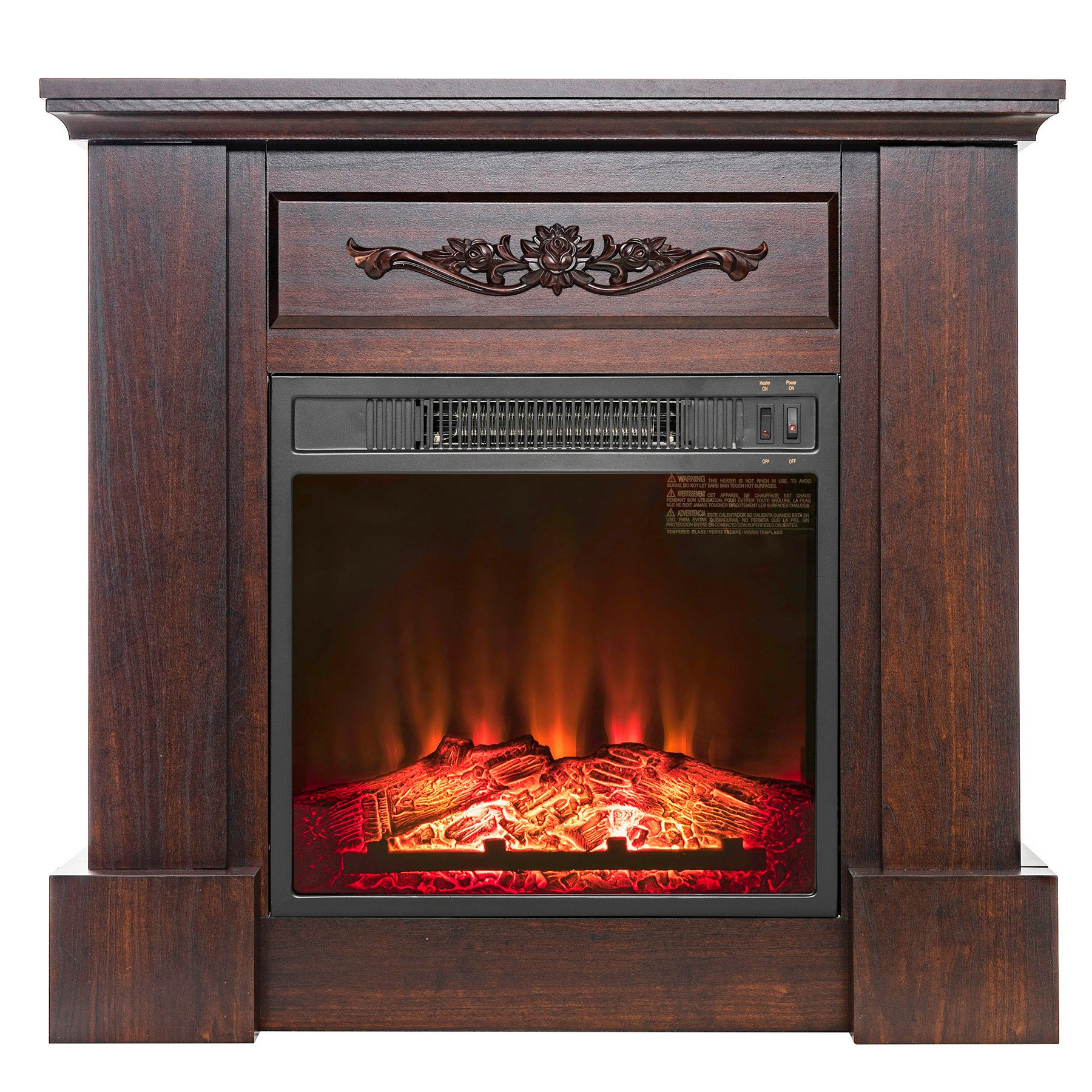 FIREBIRD 32'' Freestanding Insert Brown Wooden Push Button Control Electric Fireplace Stove Heater w/ Log Bed
