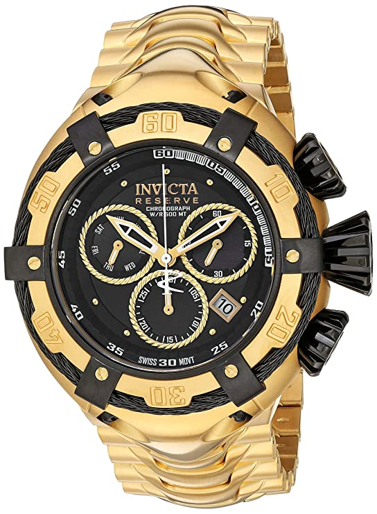 Amazon.com: Invicta Mens Bolt Swiss-Quartz Watch with Stainless-Steel Strap, Gold, 30 (Model: 21346: Invicta: Watches