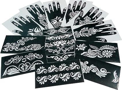 Parth Impex – Henna Tattoo Plantillas (Pack de 16) autoadhesivas ...