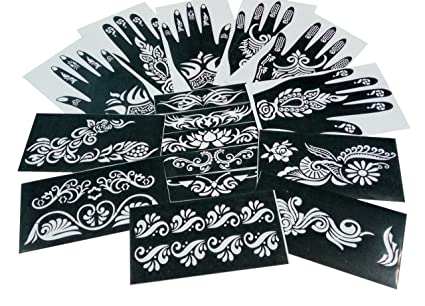 Parth Impex – Henna Tattoo Plantillas (Pack de 16) autoadhesivas ...