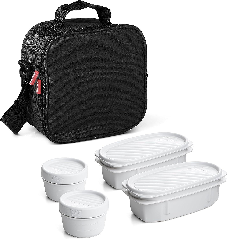 TATAY Urban Food Casual  - Bolsa térmica porta alimentos  con 4 tapers herméticos incluidos, 3 litros de capacidad, Negro, 22.5 x 10 x 22 cm