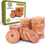 Cedar Rings Anti Moth Away Repellent for Closets & Drawers | 100% Natural Pantry Pest Killer | Clothes Storage Protection Odor Eliminator - Refresh Protect with Aromatic Oil Fragrance - 24 Pack