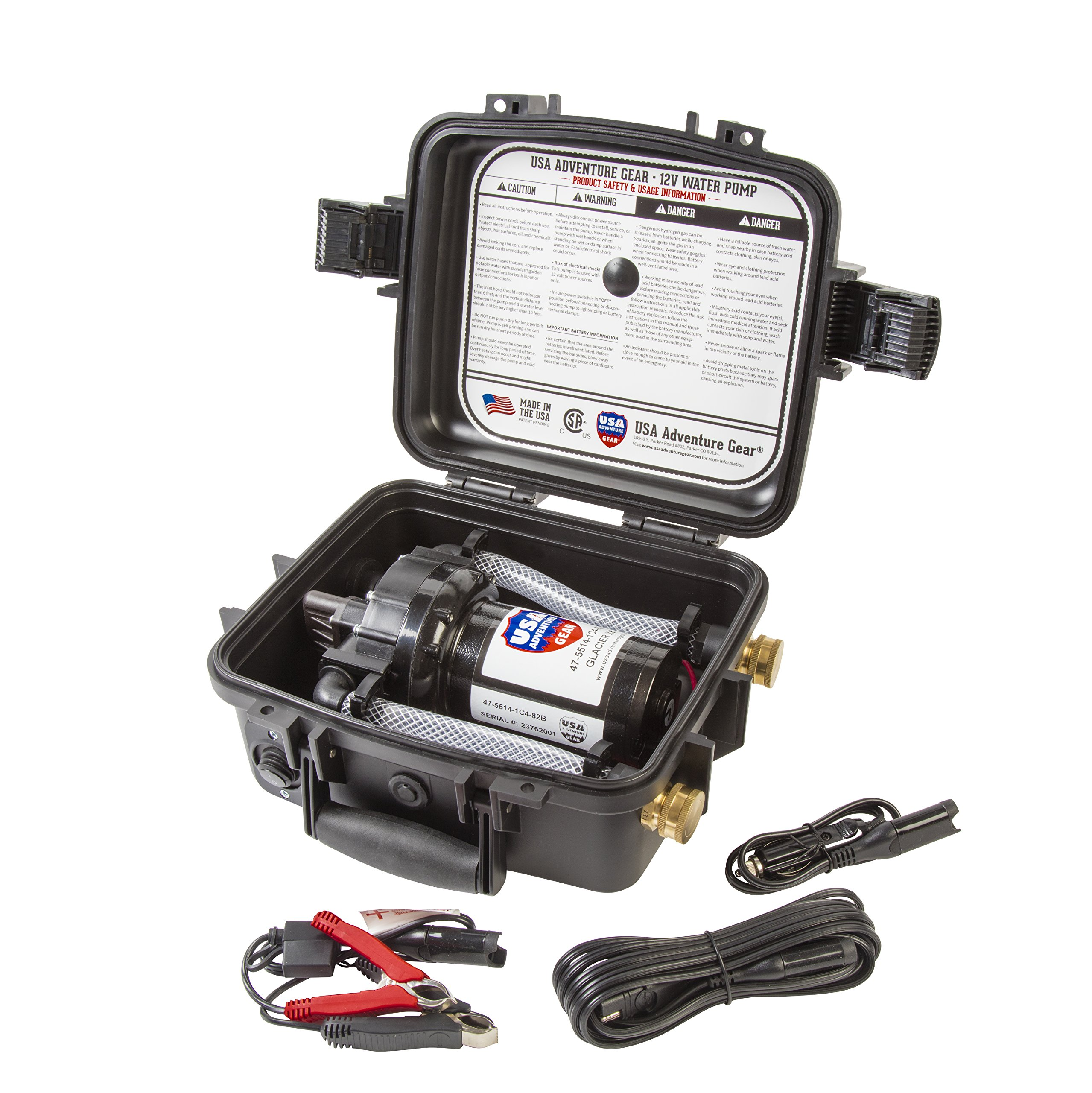 Glacier XE 12v Portable Water Pump featuring USA's 5300 ProGear Professional Grade Pump by USA Adventure Gear