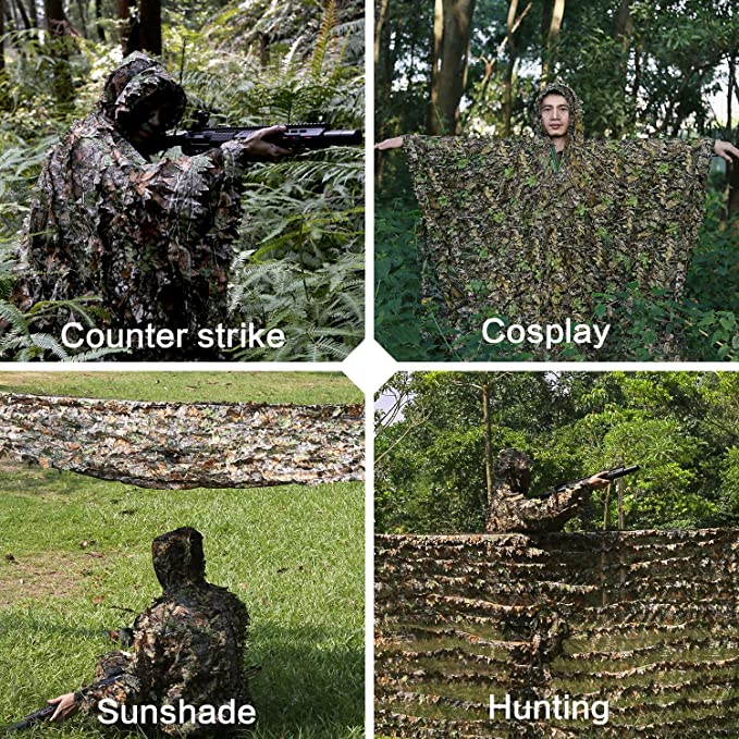 Amazon.com: 3D Leafy Ghillie Poncho Suit for Youth, Boys ...