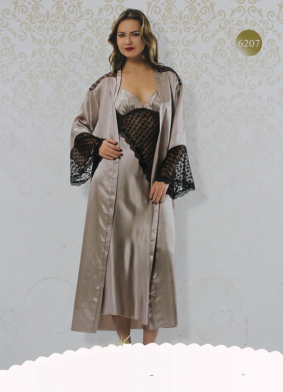 ablam Shop/2 Piezas Mujer Pijama Set Silk/Satén Dunne Bata & Slashed Vestido Lencería + Punta Sexy Largo gewand Pijama Mujeres Dormir Ropa de Noche Camiseta ...