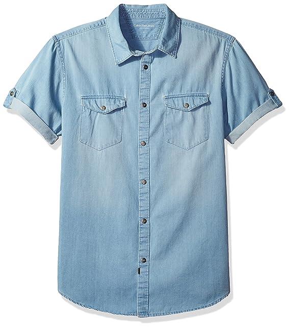 Calvin Klein Jeans Men s Short Sleeve Denim Button Down Shirt at Amazon  Men s Clothing store  a429d7c3d26