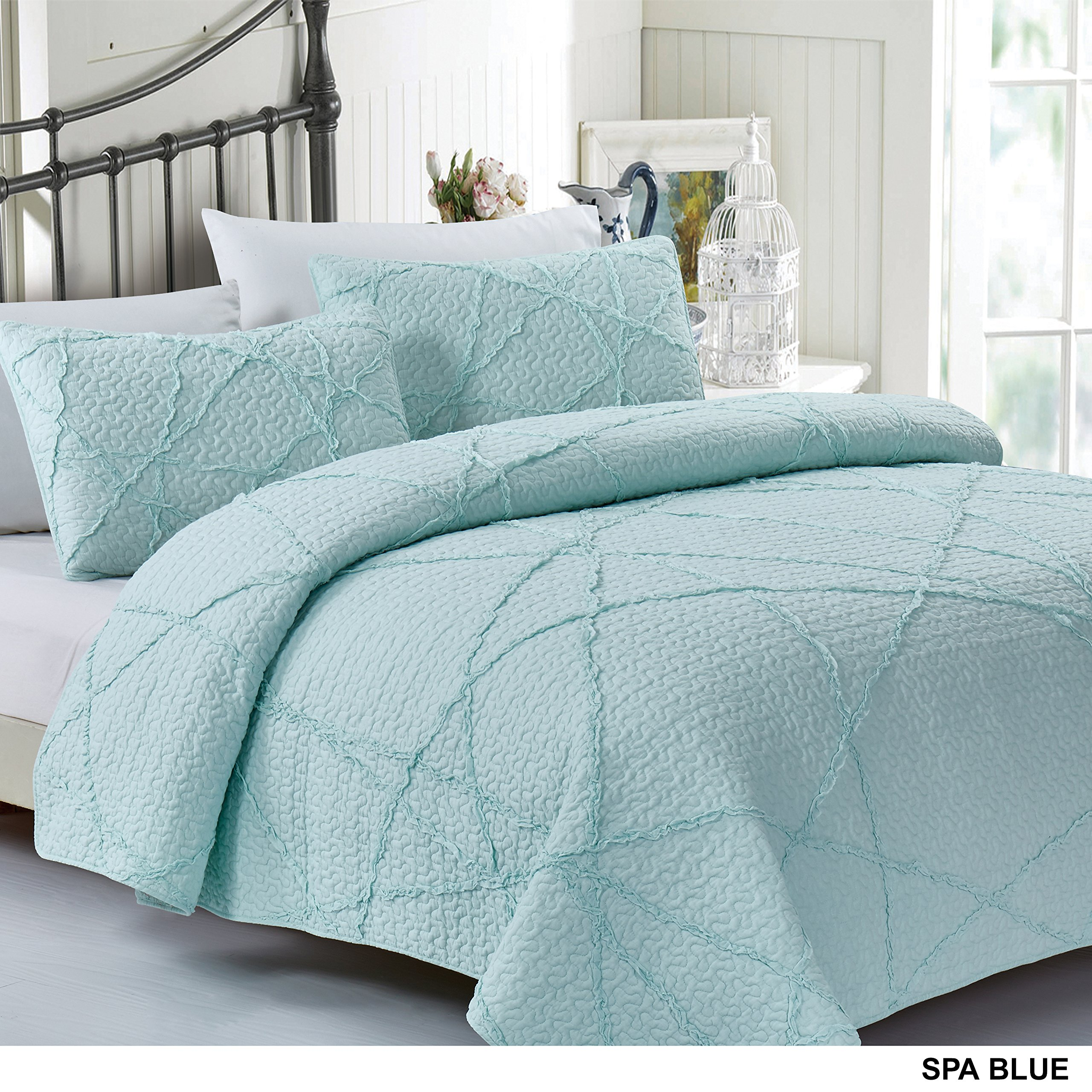California Design Den Crazy Ruffled Quilt Set, King, Spa Blue