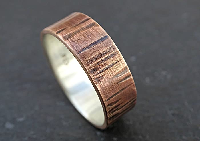Amazon.com: wood grain ring mixed metal wedding ring, mens wedding ...