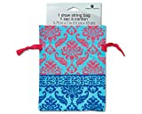 Gift Card Draw String Bag, Blue and Pink Damask on Light Blue