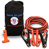 Jumper Cables 4 Gauge Extra Long (20 feet) w/ Carry Bag & Emergency Auto Escape Tool | Quality Battery Booster Cables w/ High Capacity (400 AMP), Tough Insulation and Alligator Clamps for Car, Truck