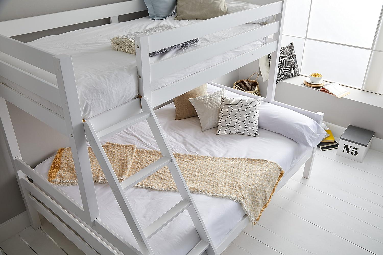 Miroytengo Litera Blanca Capricho con somieres incluidos Fabricada en Madera de Pino con Escalera Cama Inferior 135x190 cm y Cama Superior 90x190 cm: ...
