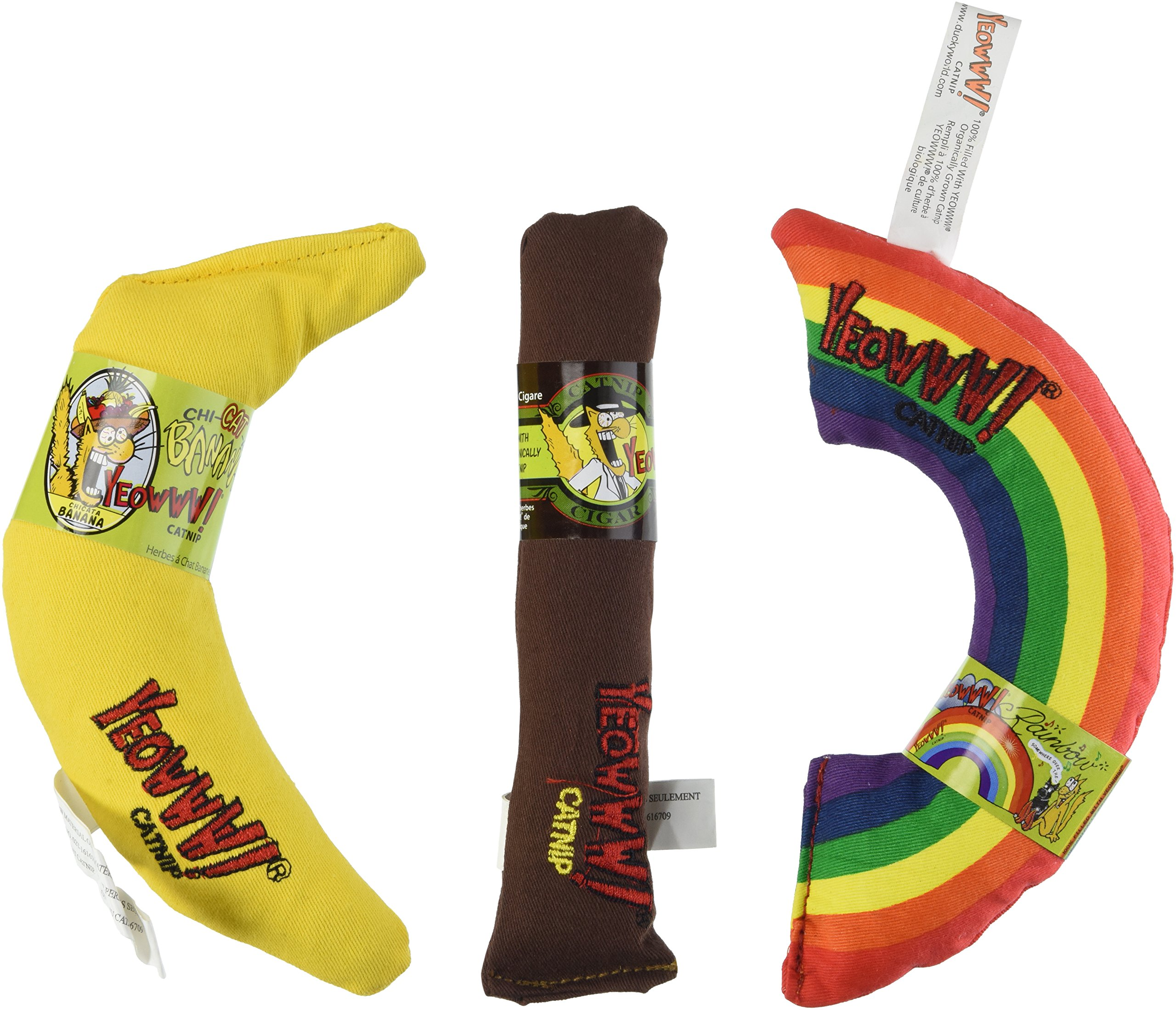 YEOWWW! CATNIP TOY VARIETY PACK ★ CIGAR & BANANA & RAINBOW ★ MADE IN USA by Yeowww!