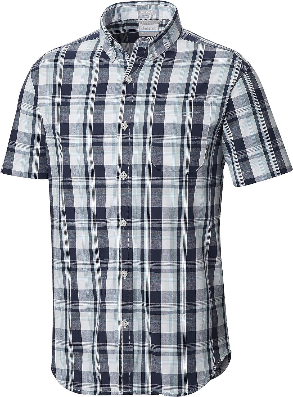 Columbia Men's Rapid Rivers II Short Sleeve Plaid Shirt, Comfort Stretch, Black, Small