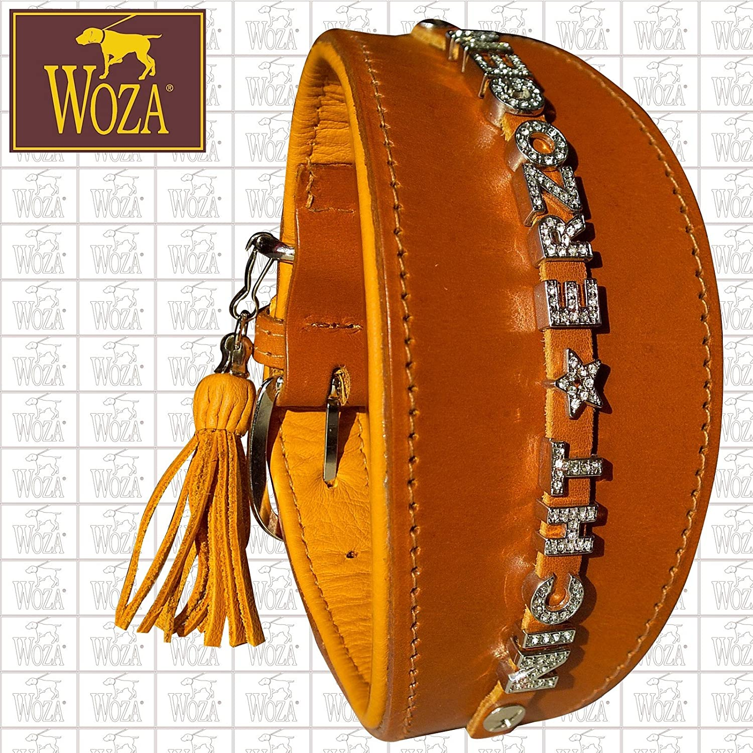 Premium Greyhound Collar 6.8 47 cm Letters Woza Full-Grain Leather Nappa Cowhide Leather Cognac Handmade Greyhound Collar