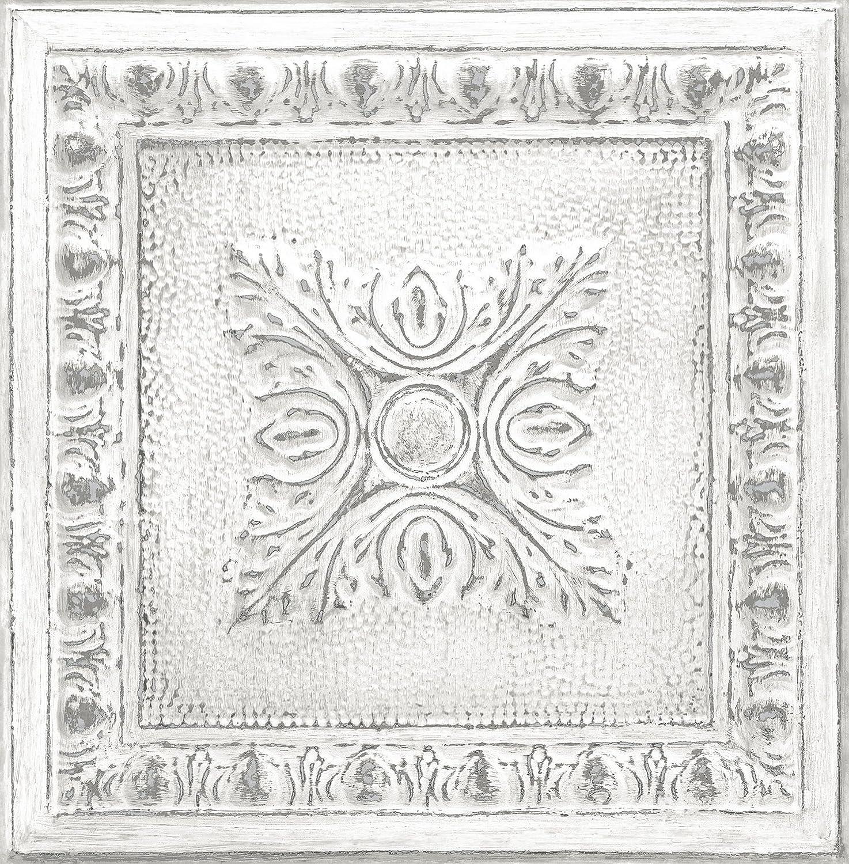 NuWallpaper NU2495 Reclaimed Tin Peel & Stick Wallpaper, White