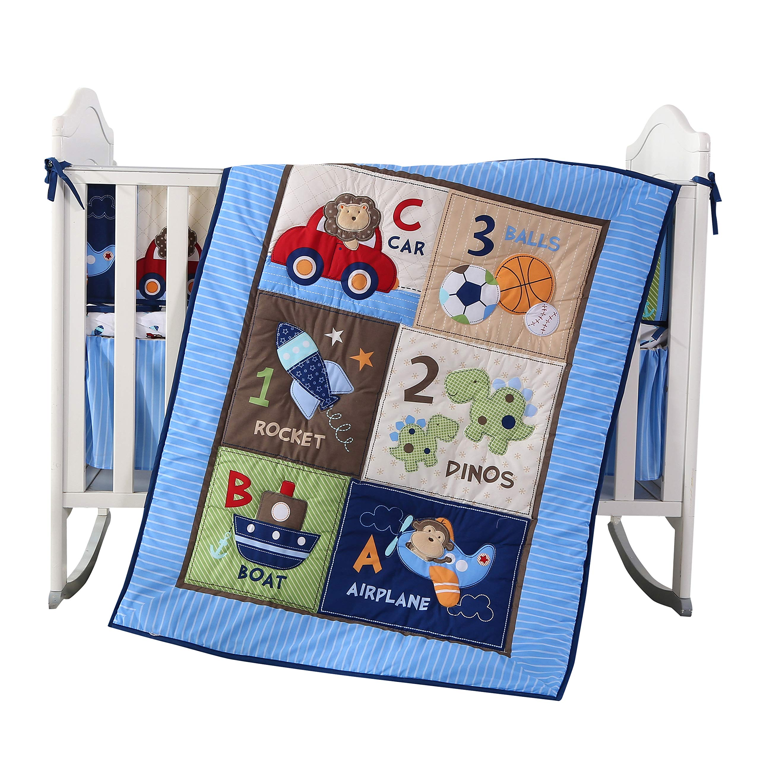 Wowelife Blue Crib Bedding Sets for Boys 7 Piece Travel Car and Airplane for Baby(Little Pilot) by Wowelife (Image #2)