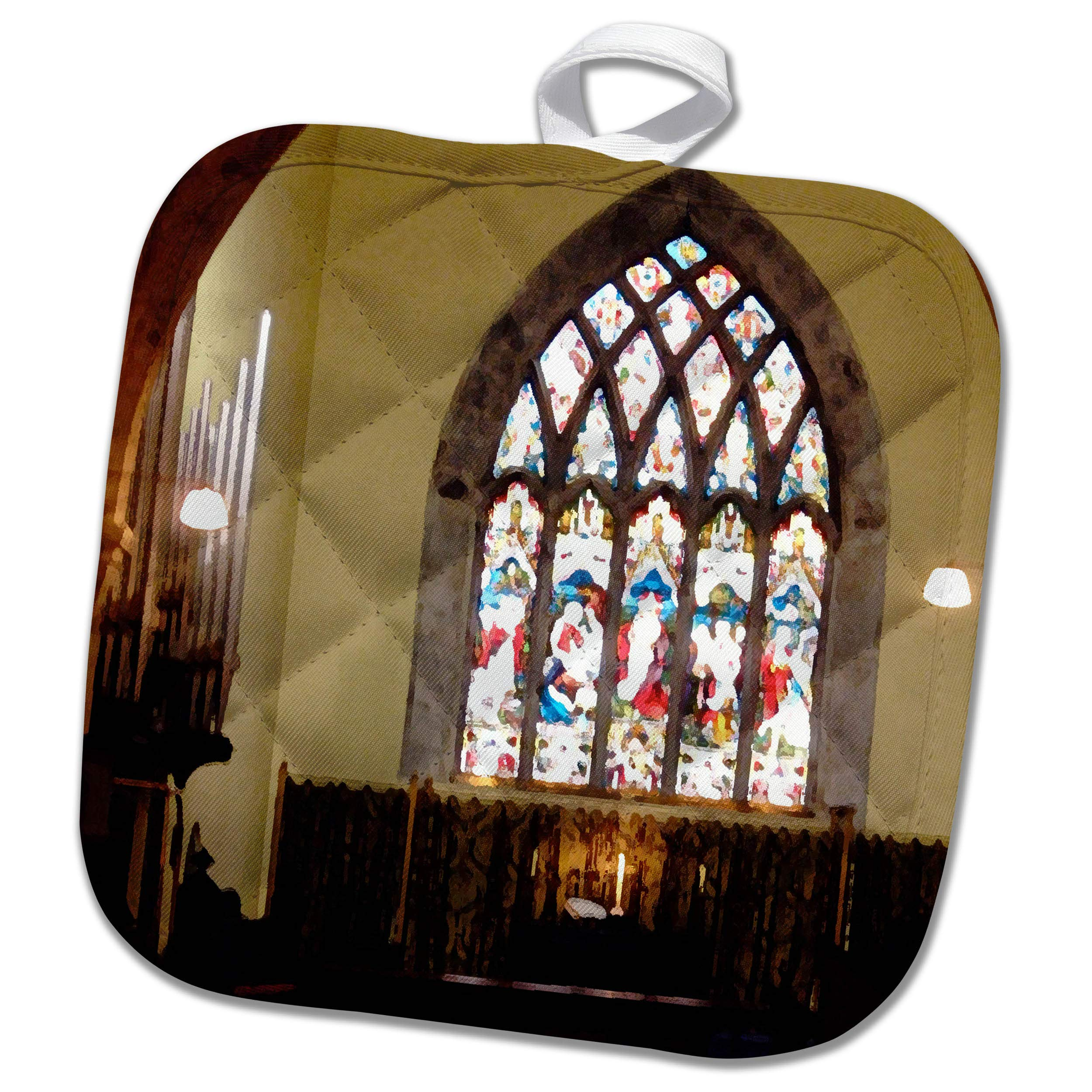 3dRose Jos Fauxtographee- Stained Glass Church - Stained Glass Window in a Chapel in Ireland - 8x8 Potholder (PHL_294507_1)