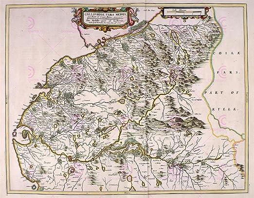 MAP ANTIQUE 1654 SCOTLAND BLAEU CENTRAL GALLOWAY REPLICA POSTER PRINT PAM0120