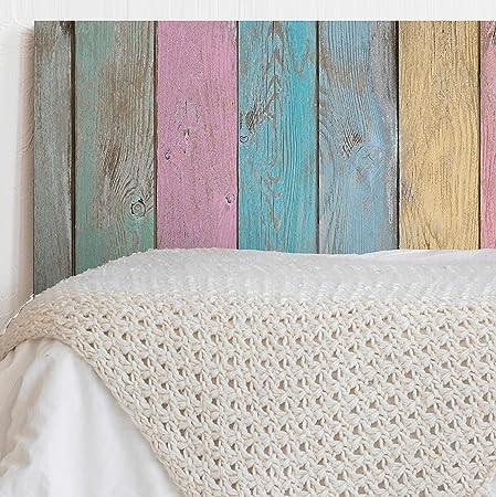 MEGADECOR Cabecero Cama PVC Decorativo Económico Textura Madera Tablas Verticales de Colores Envejecida Varias Medidas (200 cm x 60 cm)