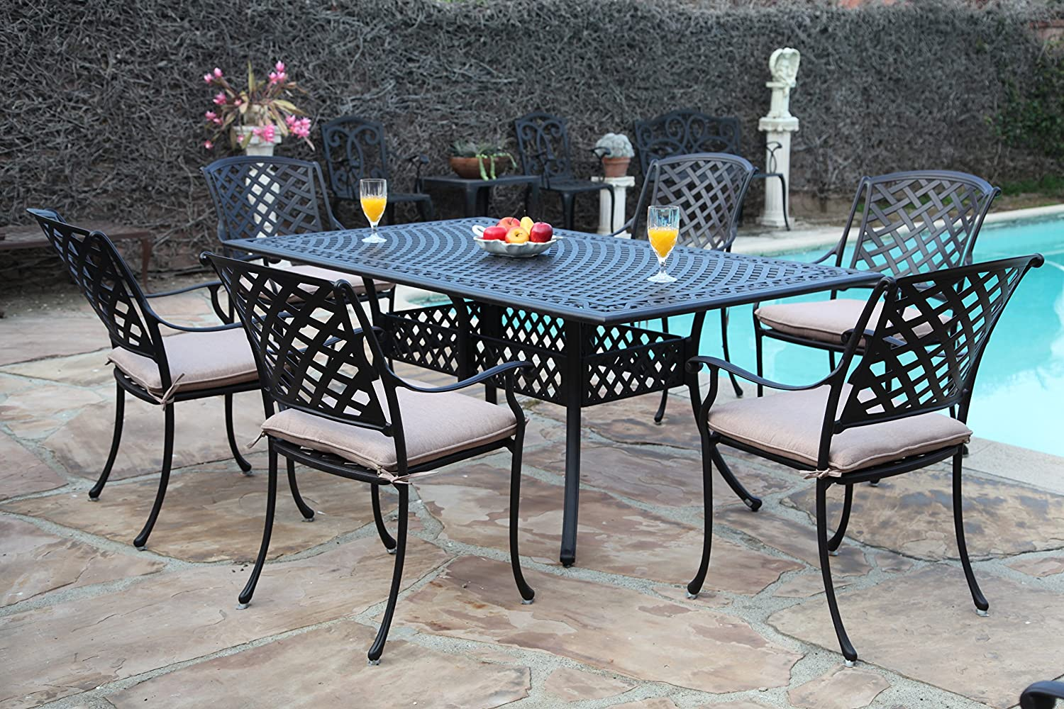 Aluminum patio furniture Lightweight Amazoncom Cbm Outdoor Cast Aluminum Patio Furniture Pc Dining Set E1 Cbm1290 Garden Outdoor Amazoncom Amazoncom Cbm Outdoor Cast Aluminum Patio Furniture Pc Dining