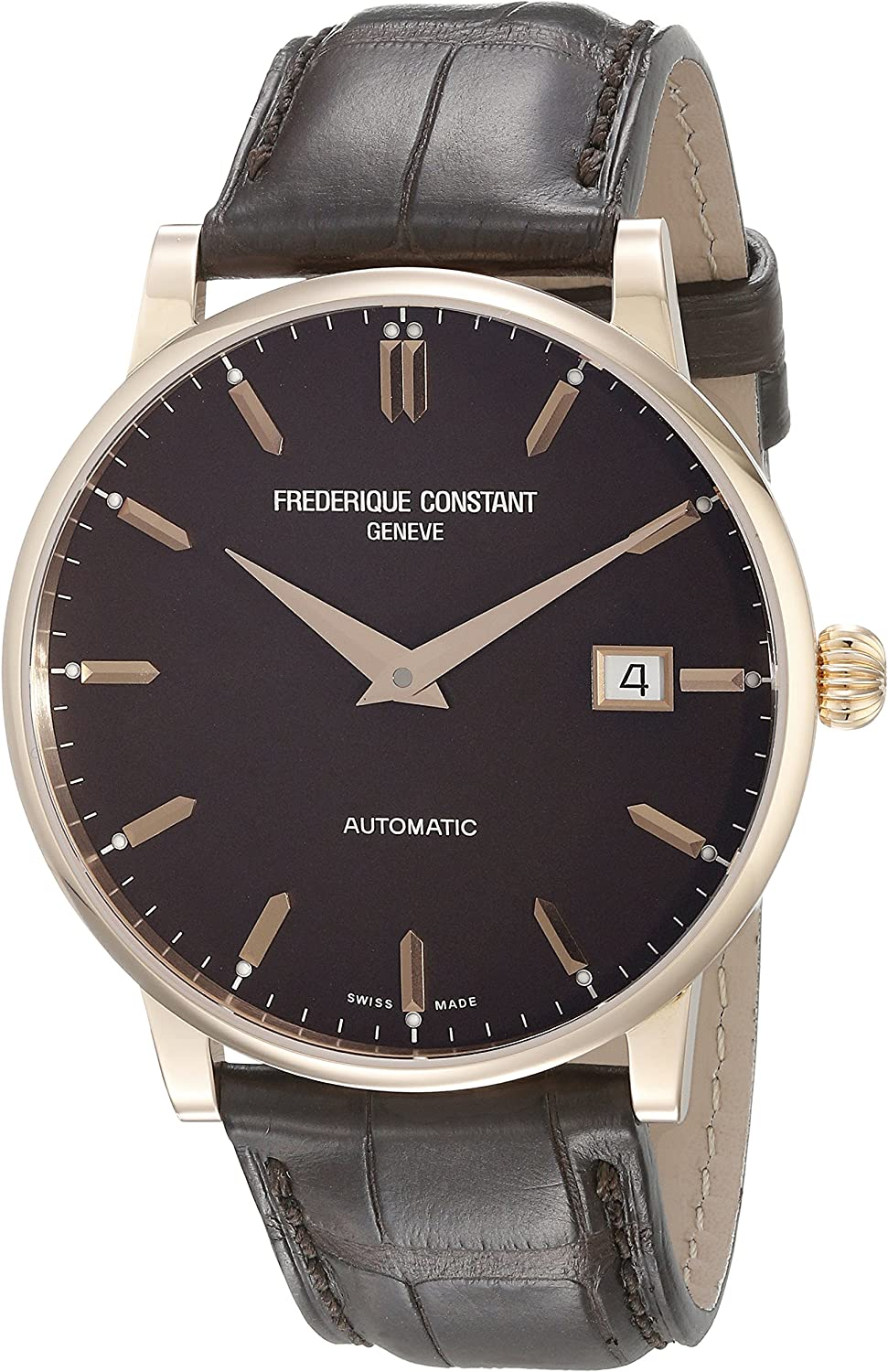 Frederique Constant Men s FC316C5B9 Slim Line 18K Rose Gold Watch with Brown Band