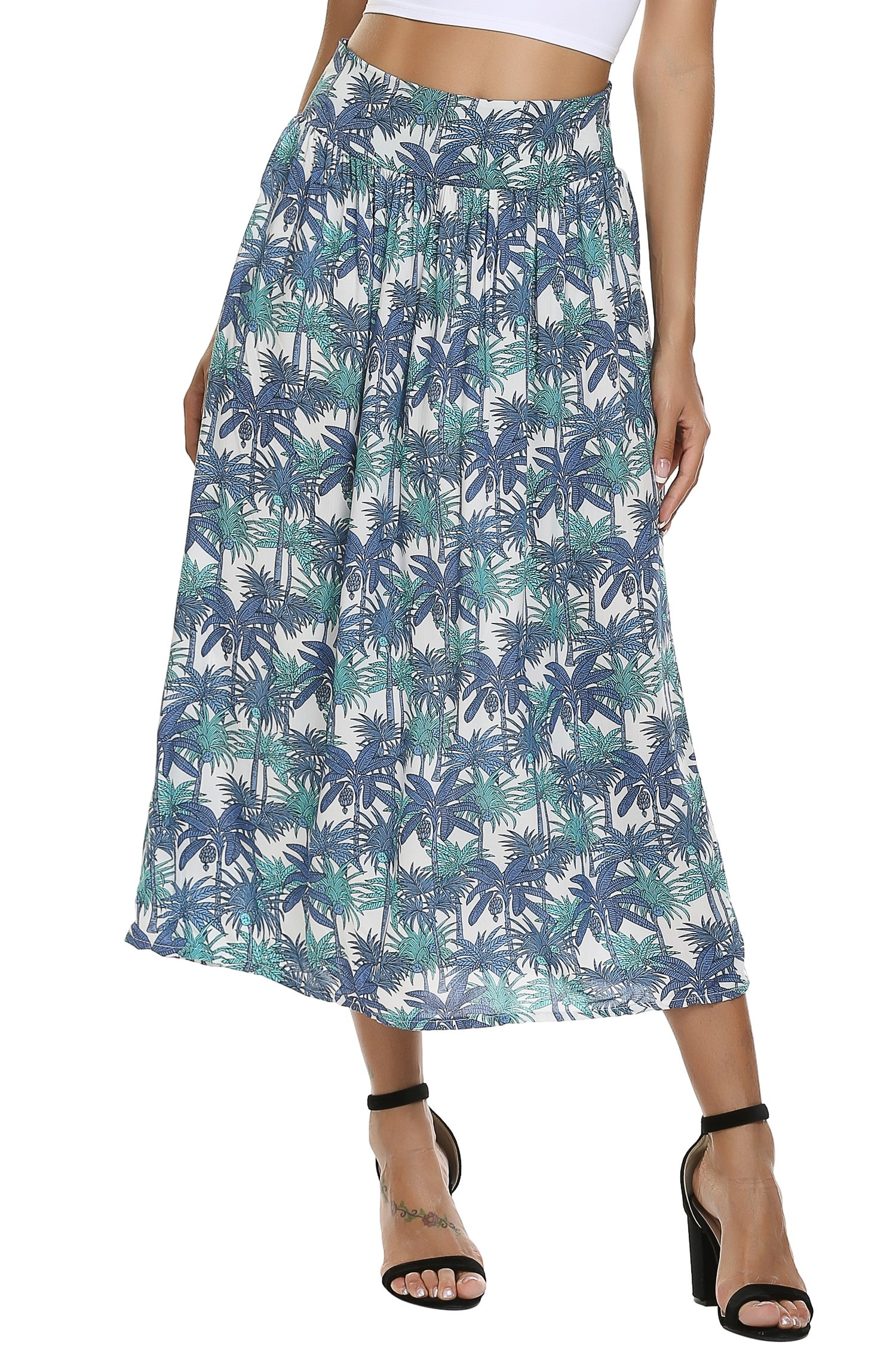 Zeagoo Women Fashion Multicolored Print High Waist Maxi Skirt Long Skirt