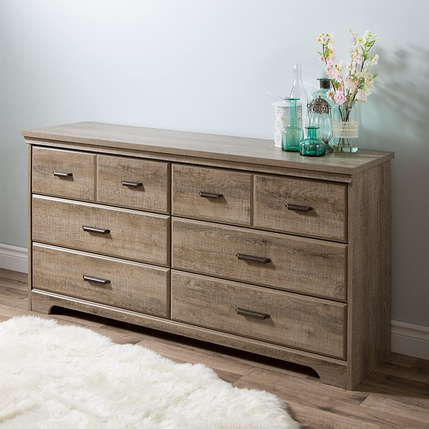 amazoncom south shore versa 6drawer double dresser for bedrooms hallways or living rooms 59 u201d x 16 u201d x 31u201d weathered oak kitchen u0026 dining