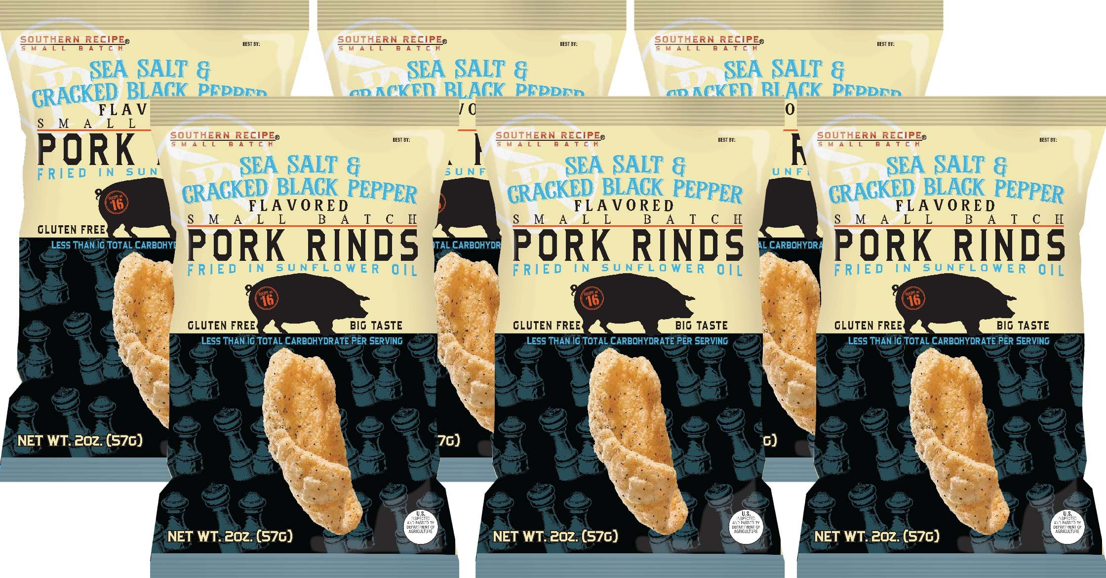 Southern Recipe Small Batch Classic Pork Rinds, Sea Salt & Cracked Black Pepper, 2 Ounce Bag (Pack of 6) by Southern Recipe (Image #3)