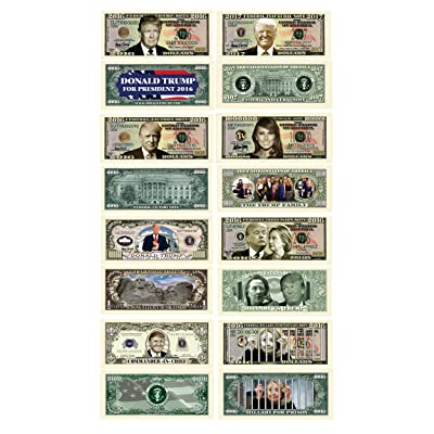 Donald Trump 45th President Collectors 8 Bill Set: Commander In Chief Bill, 2016 Presidential, 2016 Victory, 2016 Trump Vs Hillary, Legacy, 2020 Inaugural, Melania Trump and Hillary For Prison Note: Toys & Games