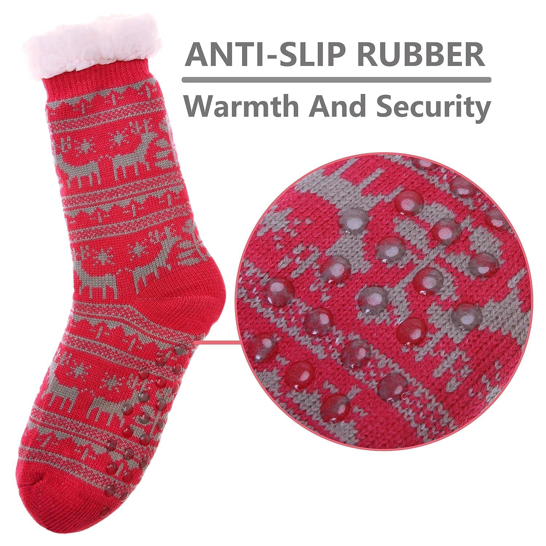 HERHILLY Christmas Gift Socks Women Grils Deer Slipper Socks Super Soft Warm Fuzzy Home Socks with Gripper