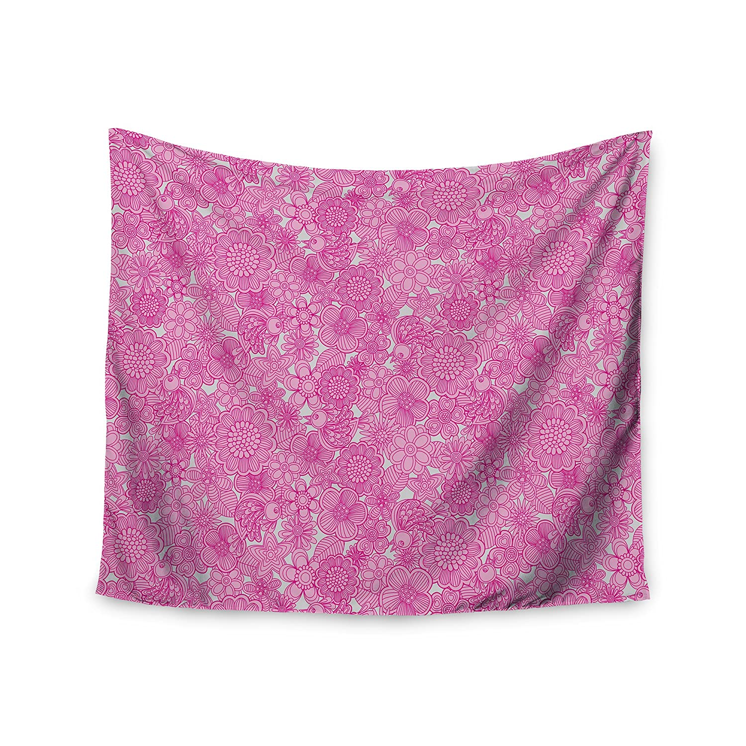 68 x 80 KESS InHouse Julia Grifol Welcome Birds To My Pink Garden Wall Tapestry