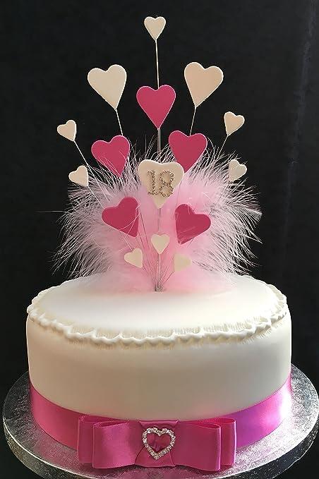 Amazing 18Th Birthday Wedding Anniversary Cake Topper Pink White Hearts Personalised Birthday Cards Akebfashionlily Jamesorg