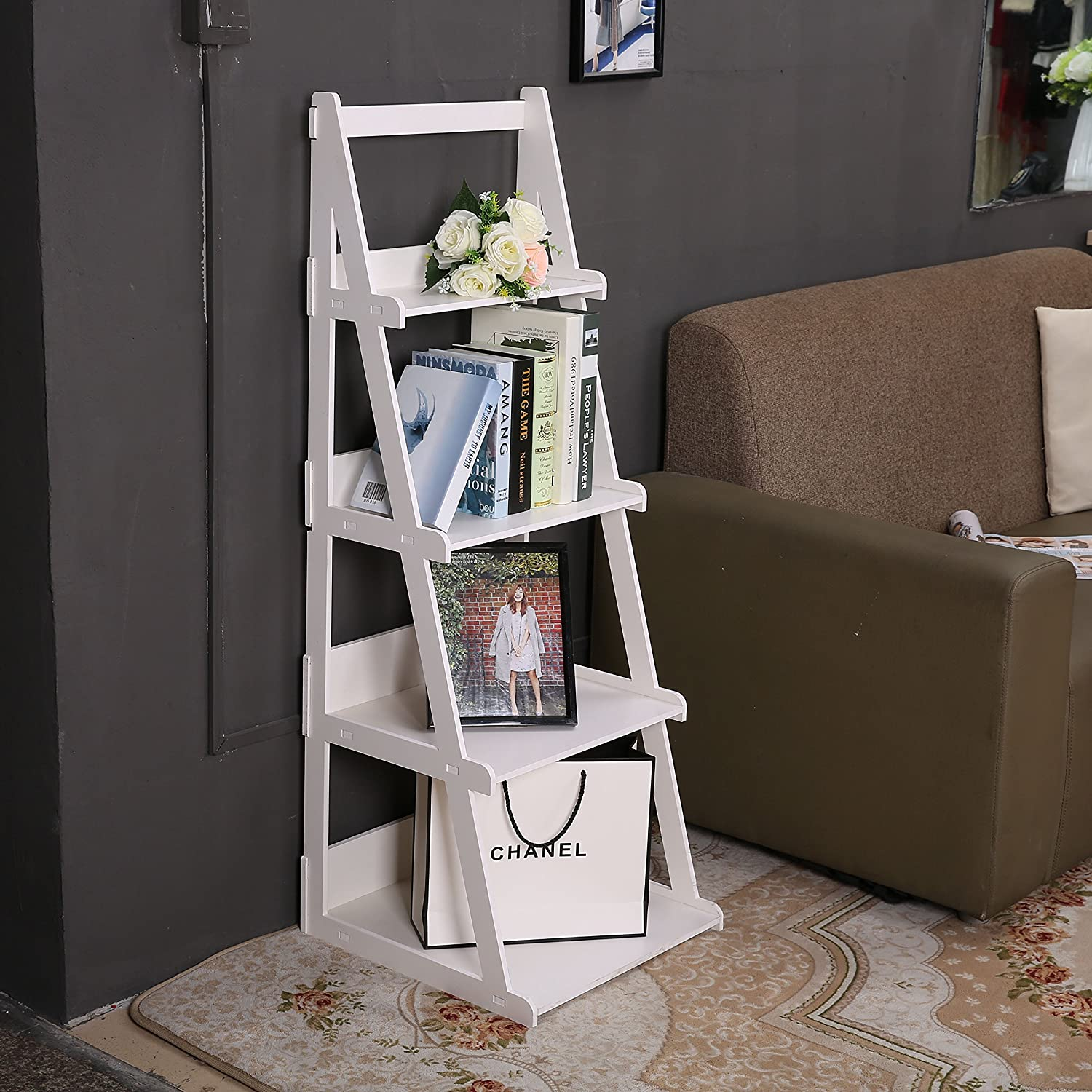 wooden ladder shelf furniture. Amazon.com: C\u0026AHOME Wood-Plastic 4-Tier Ladder Style Shelf A-Frame Plant Stand, White: Kitchen \u0026 Dining Wooden Furniture S