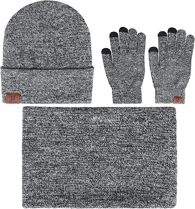 kolila 3 Pieces Winter Beanie Hat Scarf Touch Screen Gloves Knitted Cap Set Unisex Clothing Set for Men Women Clothing Black,One Size