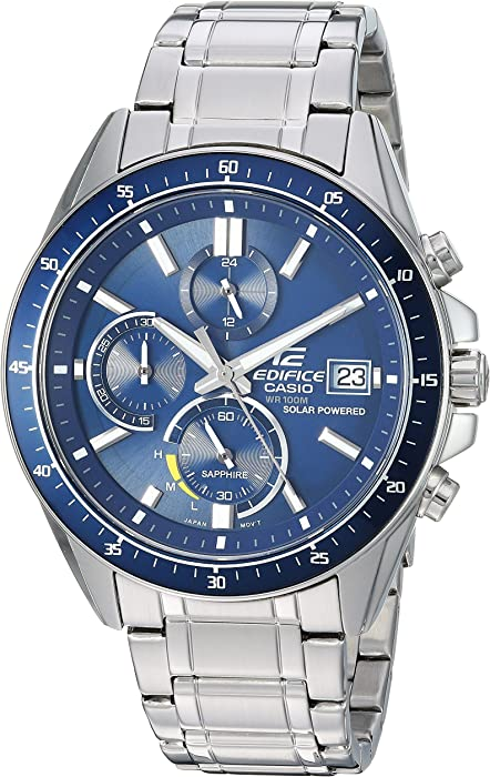 Men's Edifice Quartz Watch with Stainless-Steel Strap, Silver, 21 7 (Model:  EFS-S510D-2AVCR