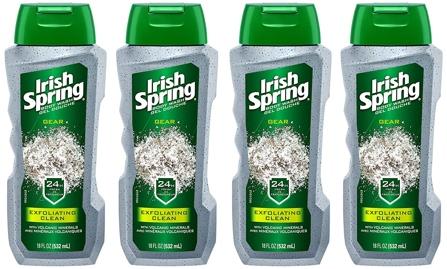 Irish Spring Gear Men's Body Wash, Exfoliating Clean with Volcanic Minerals - 18 fluid ounce (4 Pack)