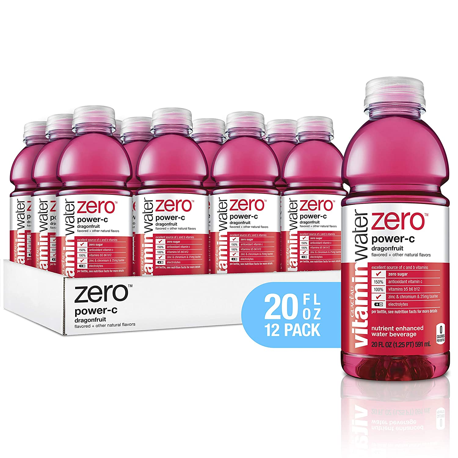 vitaminwater Electrolyte Enhanced Water with Vitamins, Zero Power-C Dragon Fruit, 20 Fluid Ounce (Pack of 12)