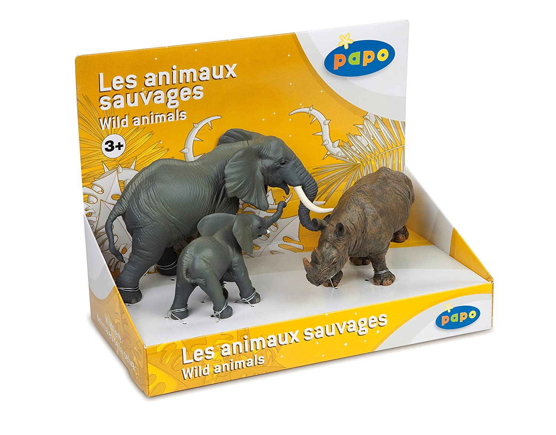 Elephant Papo Wild Animals Box Set 3 with 3 Animals Elephant calf and Rhinoceros Hotaling 80002
