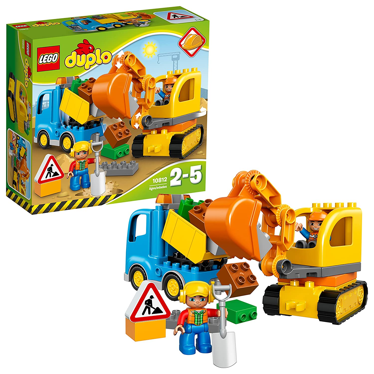 LEGO 10812 Duplo Town Toy Truck and Tracked Excavator, Large Building Bricks, Preschool Construction Set for Kids