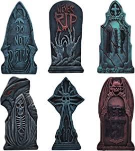 """17"""" Halloween Foam Graveyard Tombstone (6 Pack), Headstone with Different Styles and Bonus Metal Stakes for Halloween Yard Decorations"""